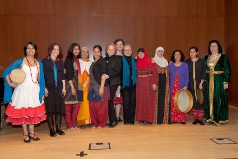 Kay with traditional singers who participated in BAC Folk Arts Half The Sky Festival, April 2012. Photo: Etienne Frossard