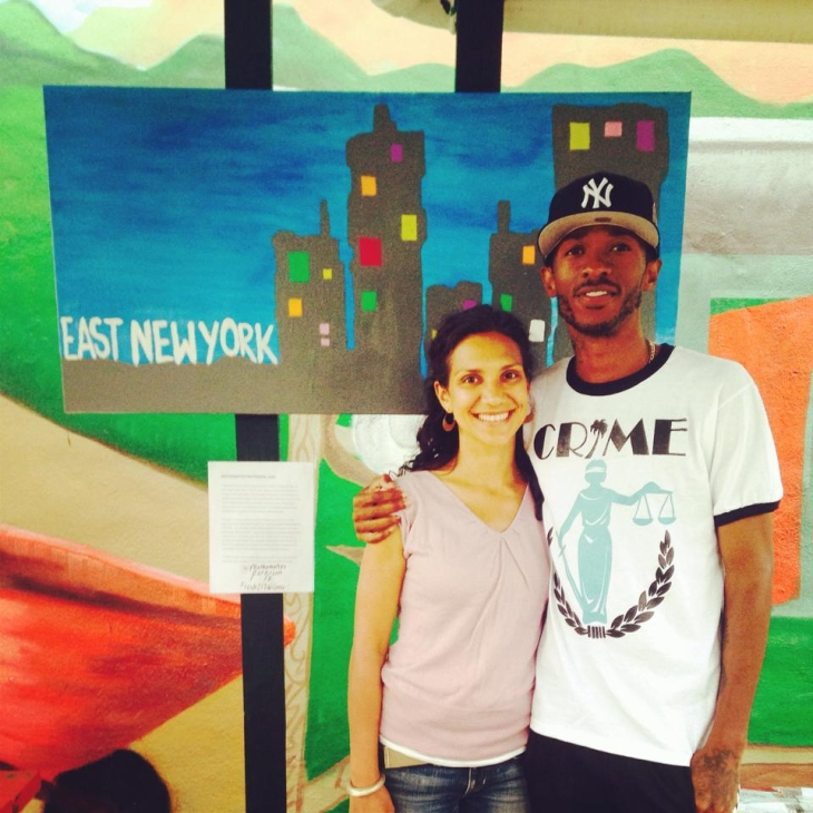 Creative Coalitions staff Sarita Daftary with artist Mathamatics Patterson (photo credit Talina Jones)