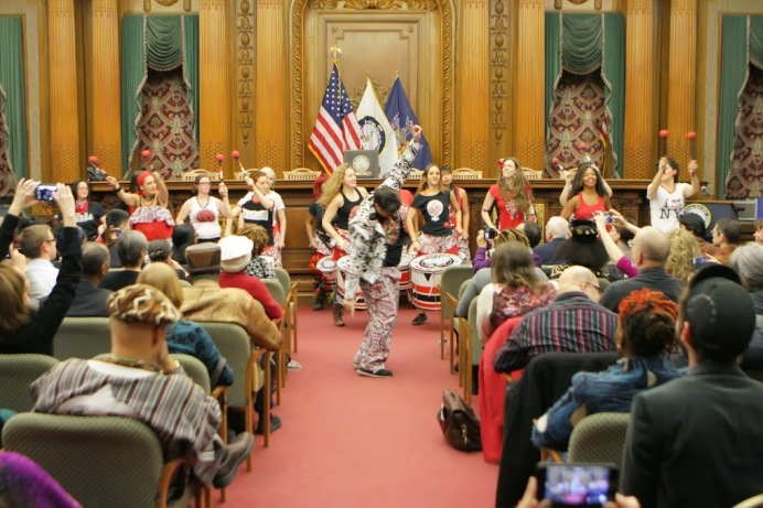 BATALA NYC performers in Brooklyn Borough Hall Courtroom. Photo Credit: Marvin Roberts Photography, 2015.