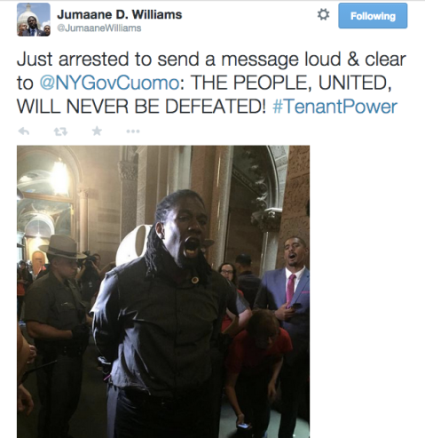 Council Member Jumaane Williams tweets about his arrest.